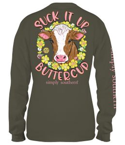 Heifer Suck It Up Butter Cup Moss Long Sleeve Tee by Simply Southern