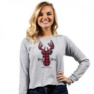 Hey Deer Heather Gray Shortie Long Sleeve Tee by Simply Southern