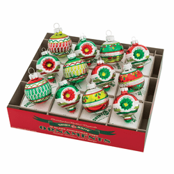 "Holiday Splendor 1.75"" Decorated Rounds & Shapes by Christopher Radko (Set of 12)"