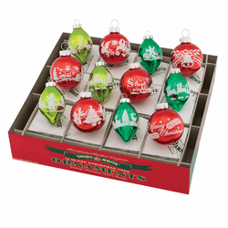 "Holiday Splendor 1.75"" Signature Flocked Tulips & Rounds by Christopher Radko (Set of 12)"