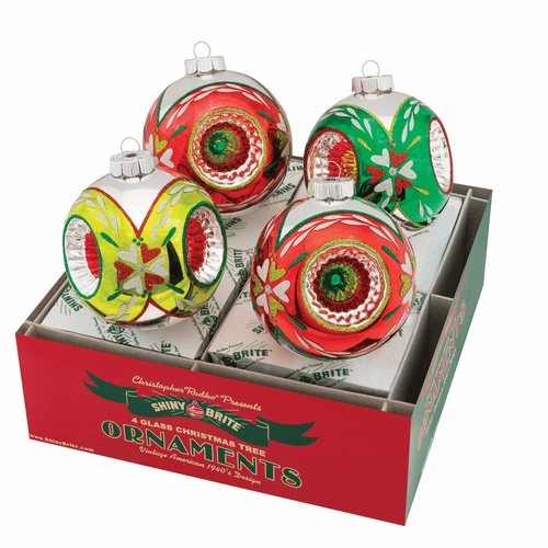 """Holiday Splendor 4"""" Rounds With Triple Reflector by Christopher Radko (Set of 4) (Ships Fall 2019)"""