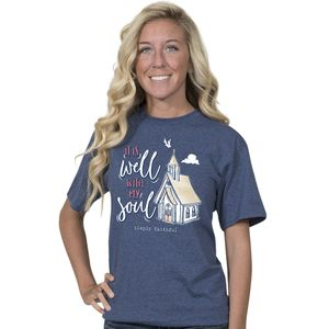 It Is Well With My Soul Denim Simply Faithful Fitted Tee by Simply Southern