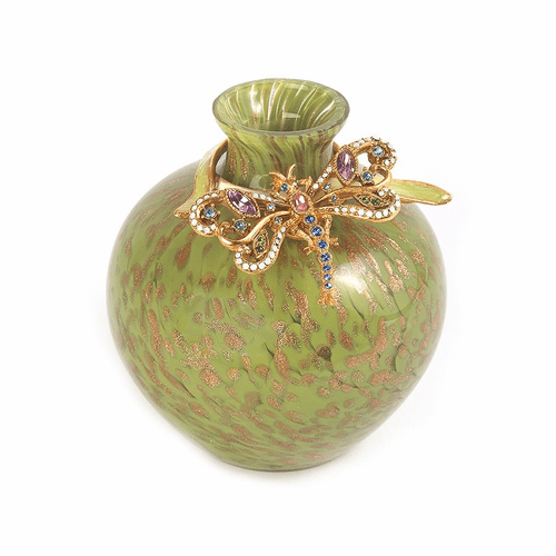 Jay Strongwater Alice Dragonfly Leaf Vase - Green