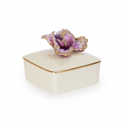 Jay Strongwater Bailey Tulip Porcelain Box - White - Special Order
