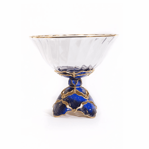 Jay Strongwater Beau Pedestal Bowl - Sapphire - Special Order