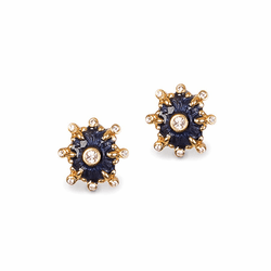 Jay Strongwater Button Post Indigo Earrings (Special Order)