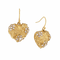 Jay Strongwater Gilded Heart Drop Earrings (Special Order)