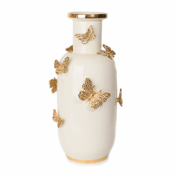 Jay Strongwater Heather Porcelain Rounded ButterflyVase