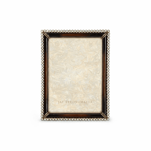 """Jay Strongwater Lucas Stone Edge 5"""" x 7"""" Frame - Dark Brown - Special Order"""