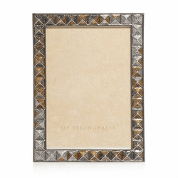 Jay Strongwater Mosaic Pyramid 5 x 7 Frame in Mixed Metal