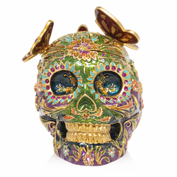 Jay Strongwater Rivera Skull with Butterflies Box