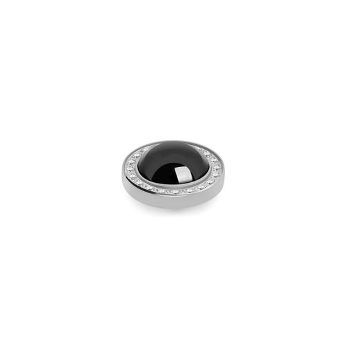 Jet Hematite Pearl 10.5mm Silver with Crystal Border Interchangeable Top by Qudo Jewelry