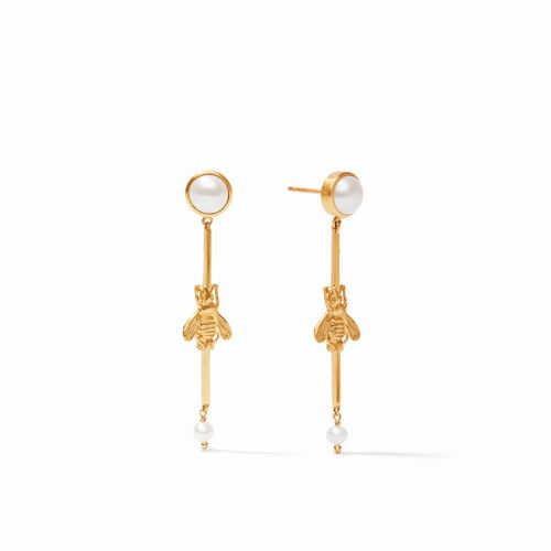 Julie Vos Bee Duster Earring - Gold & Pearl