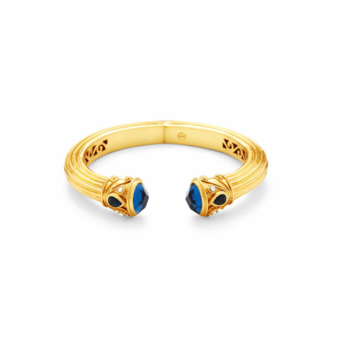 Julie Vos Byzantine Demi Hinge Cuff - Gold - Sapphire Blue and Fresh Water Pearl Accent