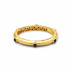 Julie Vos Catalina Hinge Bangle - Gold - Sapphire Blue
