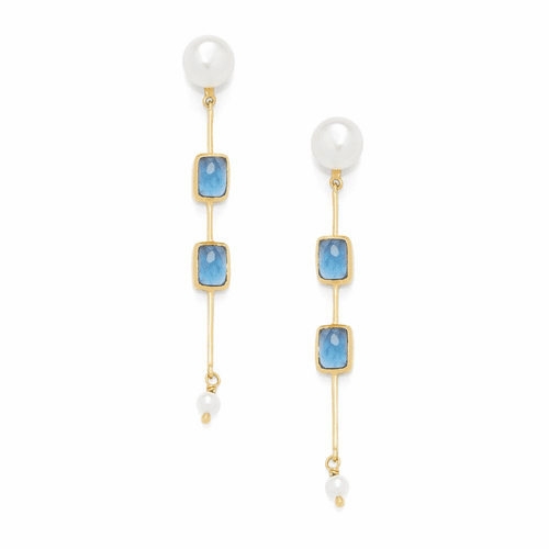 Julie Vos Clara Double Stone Earrings - Gold - Fresh Water Pearl and Sapphire Blue