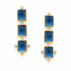 Julie Vos Clara Tier Earrings - Gold - Sapphire Blue