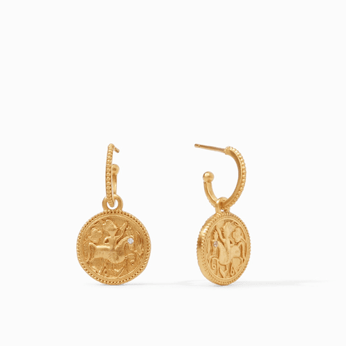 Julie Vos Coin Hoop & Charm Earrings - Gold Cz Accents