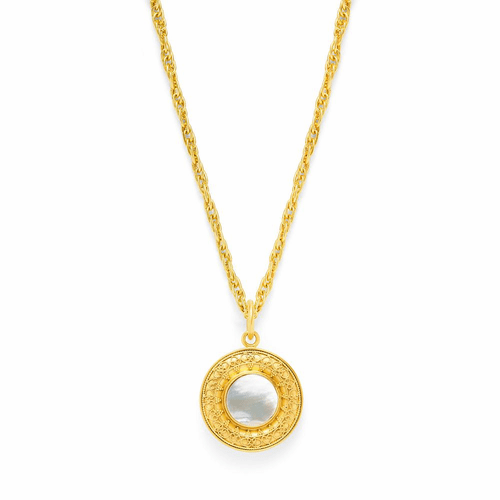 Julie Vos Sofia Double-Sided Pendant - Gold - Mother of Pearl with Small Fresh Water Pearl Accent