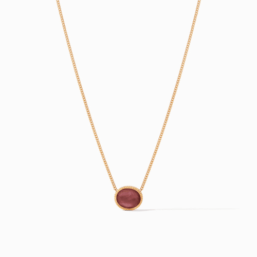 Julie Vos Verona Solitaire Necklace - Gold Iridescent Azure Bordeaux