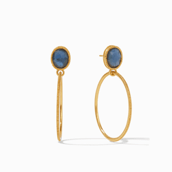 Julie Vos Verona Statement Earrings - Gold Iridescent Azure Blue