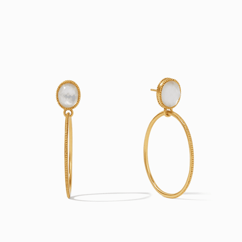Julie Vos Verona Statement Earrings - Gold Iridescent Clear Crystal