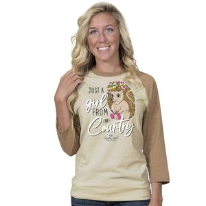 Just A Girl Oatmeal and Camel Country Chick Long Sleeve Tee by Simply Southern