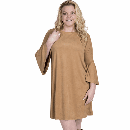 Large Camel Charlotte Long Sleeve Tunic by Simply Southern