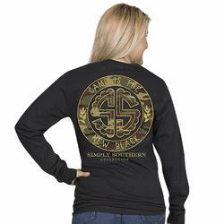 Large Camo is the New Black Black Long Sleeve Tee by Simply Southern