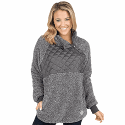 Large Dark Gray Quarter Patch Sherpa by Simply Southern