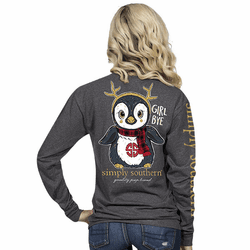 Large Girl Bye Penguin Dark Heather Gray Long Sleeve Tee by Simply Southern
