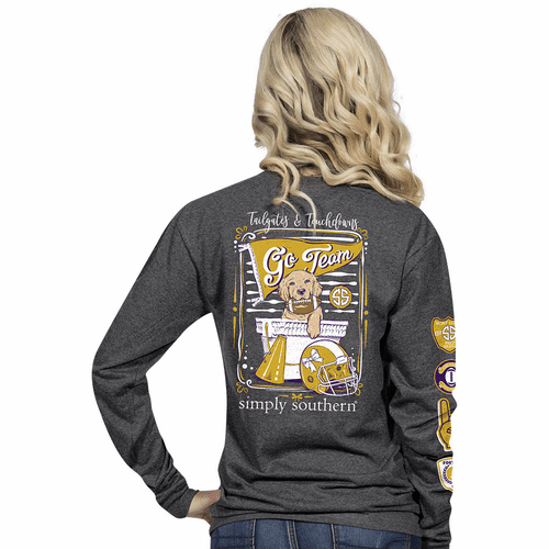 Large Gold and Purple Tailgates & Touchdowns Dark Heather Grey Long Sleeve Tee by Simply Southern