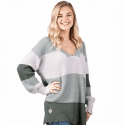 Large Gray Striped Distressed Sweater by Simply Southern