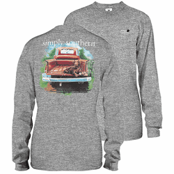 Large Heather Gray Chocolate Lab Unisex Long Sleeve Tee by Simply Southern