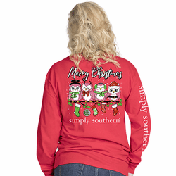 Large Owl Xmas Red Long Sleeve Tee by Simply Southern