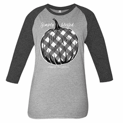 Large Plaid Light Gray and Dark Gray Simply Faithful Long Sleeve Tee by Simply Southern