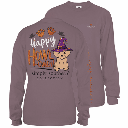 Large Plum Happy Howl-oween Long Sleeve Tee by Simply Southern