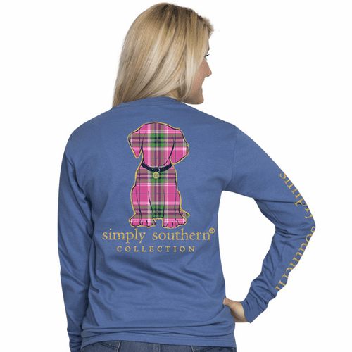 Large Preppy Puppy Moonrise Long Sleeve Tee by Simply Southern