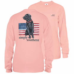 Large Rose Black Lab Unisex Long Sleeve Tee by Simply Southern