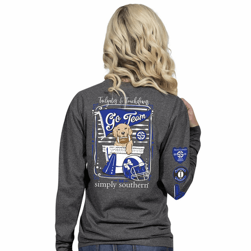 Large Royal and Black Tailgates & Touchdowns Dark Heather Grey Long Sleeve Tee by Simply Southern