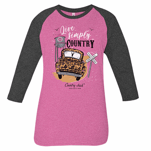 Large Simply Country Pink Country Chick Long Sleeve Tee by Simply Southern