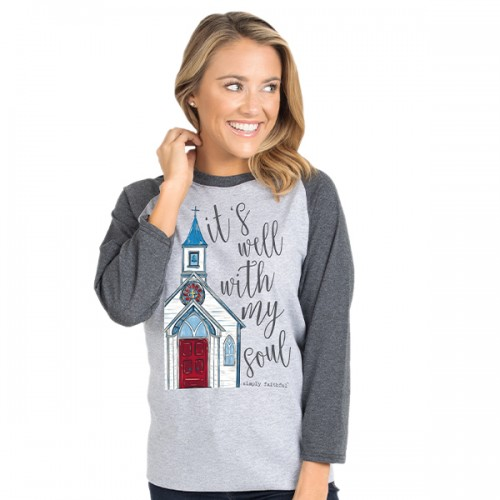 Large Simply Faithful Dark Heather Gray Soul Long Sleeve Tee by Simply Southern