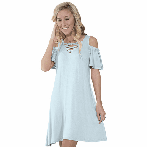 Large Sky Vilano Short Sleeve Tunic by Simply Southern
