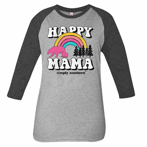 Large Vintage Dark Heather Gray Happy Mama Long Sleeve Tee by Simply Southern
