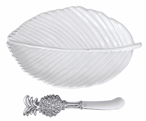 Leaf Ceramic Plate & Pineapple Spreader by Mariposa