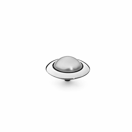 Light Grey Pearl 16mm Silver Interchangeable Top by Qudo Jewelry