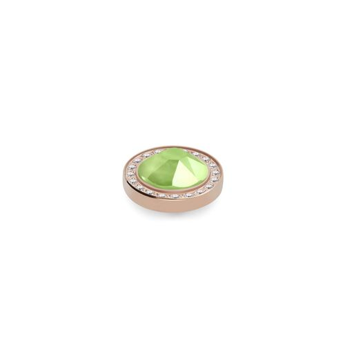 Lime 10.5mm Rose Gold with Crystal Border Interchangeable Top by Qudo Jewelry