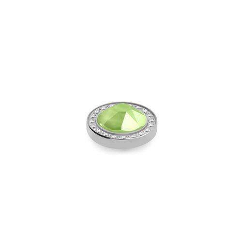 Lime 10.5mm Silver with Crystal Border Interchangeable Top by Qudo Jewelry