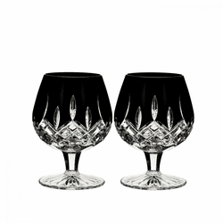 Lismore Black Brandy Balloon Pair by Waterford