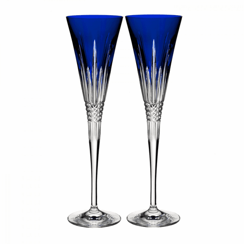 Lismore Diamond Cobalt Toasting Flute Pair by Waterford